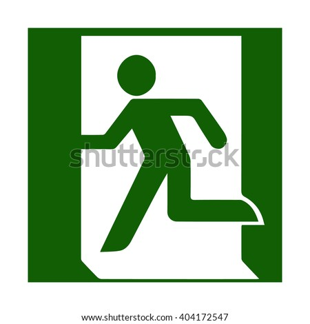 Fire emergency icons. Vector illustration. Fire exit. Vector fire emergency exit. Green symbol of the person running out. Evacuation exit. Escaping exit. Symbol for evacuation plans. - stock vector