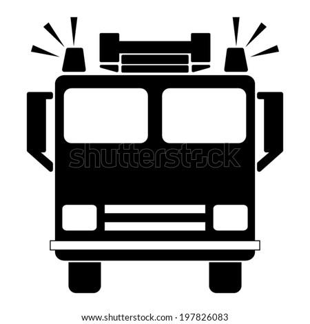 fire engine - vector black icon - stock vector