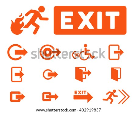 Fire Exit vector icon set. Style is orange flat symbols isolated on a white background. - stock vector