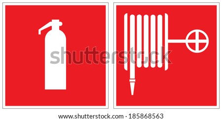 Fire extinguisher, fire hose reel signs - stock vector