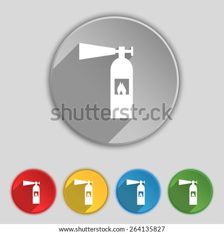 fire extinguisher icon sign. Symbol on five flat buttons. Vector illustration - stock vector