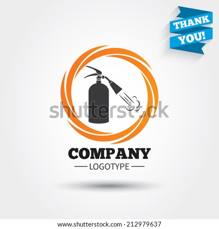 Fire extinguisher sign icon. Fire safety symbol. Business abstract circle logo. Logotype with Thank you ribbon. Vector - stock vector