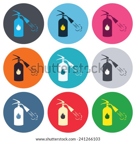 Fire extinguisher sign icon. Fire safety symbol. Colored round buttons. Flat design circle icons set. Vector - stock vector