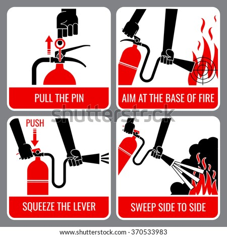 Fire extinguisher vector instruction. Warning and danger, flame and caution, informational banner illustration - stock vector