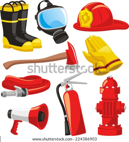 Fire-fighter elements set collection, including boots, mask, helmet, axe, gloves, hose, fire extinguisher, megaphone vector illustration. - stock vector
