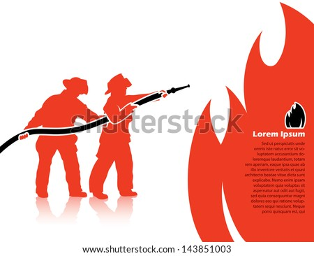 Fire fighters - vector illustration - stock vector