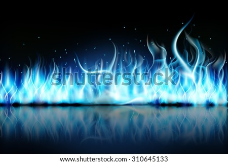 fire flame blue on black background. Vector - stock vector