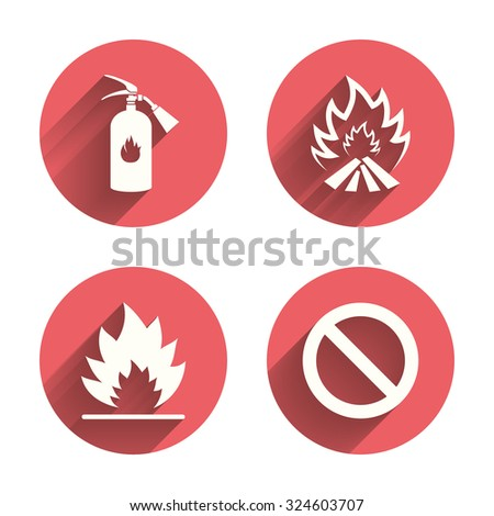 Fire flame icons. Fire extinguisher sign. Prohibition stop symbol. Pink circles flat buttons with shadow. Vector - stock vector