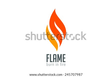 Fire flame Logo design luxury vector template. Red Burn Fashion Jewelry Logotype icon concept. - stock vector