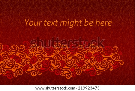 Fire flames horizontal banner/template with plenty space for text in vector on dark red background in vector. Curly background - stock vector
