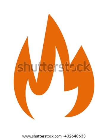 Fire flames hot burn and fire flame vector icon. Warm inferno danger fire flame and cooking yellow fire flame. Orange light blazing campfire ignite fire flame design and detail fireplace passion sign. - stock vector