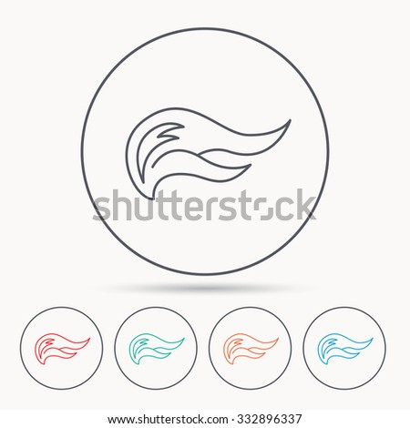 Fire flames icon. Blazing bonfire sign. Linear circle icons. - stock vector