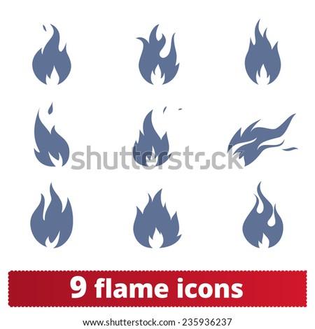 Fire flames: icons vector set. - stock vector