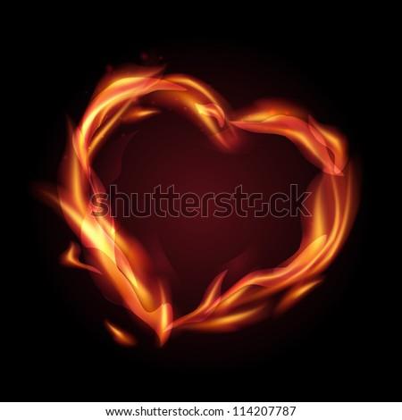 Fire flames making a heart shape. Vector illustration. - stock vector