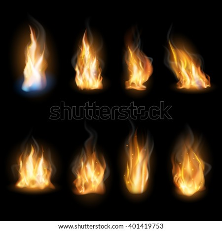 Fire flames on a dark background.  - stock vector