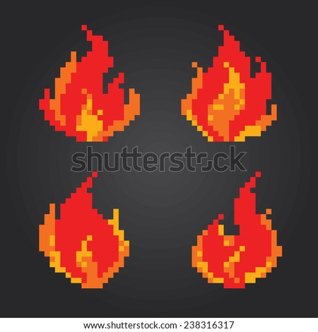 Fire flames pixel icons set. Old school computer graphic style. - stock vector