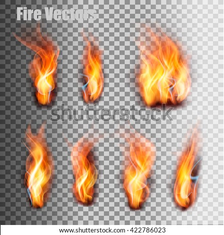 Fire flames set. Vector. - stock vector