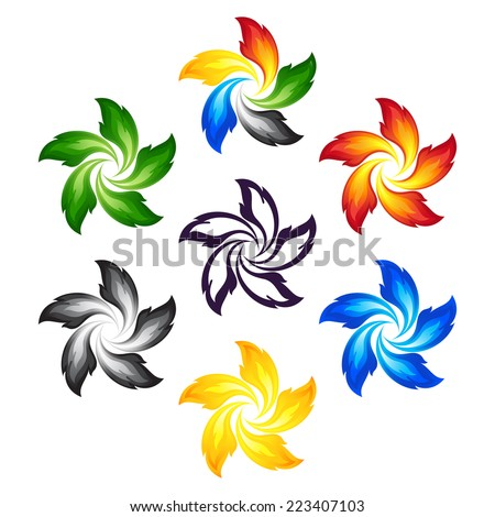 Fire flowers with the colors of the five continents - stock vector