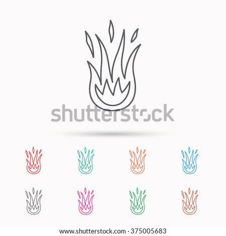 Fire icon. Hot flame sign. Linear icons on white background. - stock vector