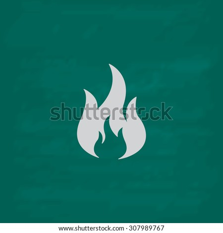 Fire. Icon. Imitation draw with white chalk on green chalkboard. Flat Pictogram and School board background. Vector illustration symbol - stock vector