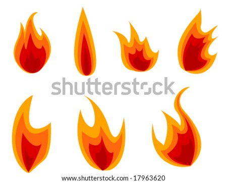 fire icons - stock vector