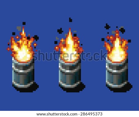 Fire in the barrel - animation frames video game asset pixel art style vector layer illustration - stock vector
