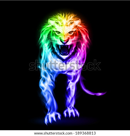 Fire lion in spectrum colors on black background - stock vector