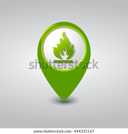 Fire Location Green Pointer - stock vector
