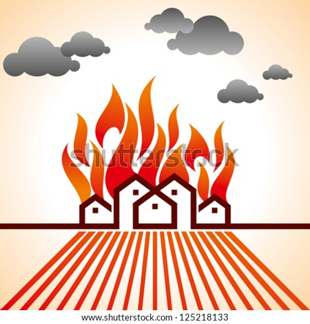 fire on city - stock vector