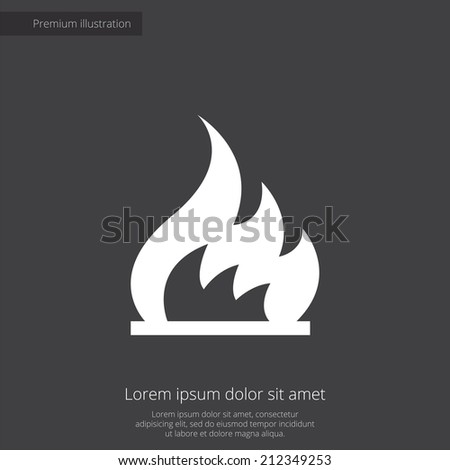 fire premium illustration icon, isolated, white on dark background, with text elements  - stock vector
