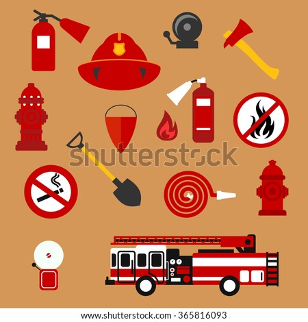 Fire safety and protection background with flat icons of fire truck, extinguishers, hose, fire flame, hydrants, protective helmet, fire alarms, axe, shovel, conical bucket, no fire and smoking signs - stock vector