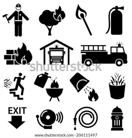Fire safety icon set in black - stock vector