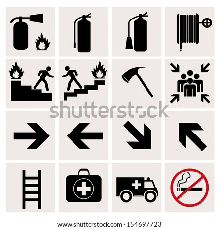 Fire safety icons on white background - stock vector