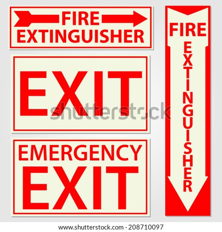 Fire safety signs vector illustration - stock vector