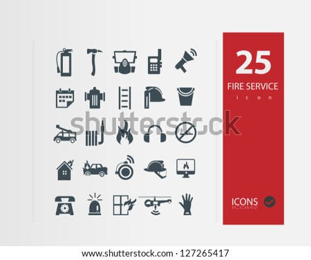 Fire services icons ( Set of 25 Quality icons ) - stock vector