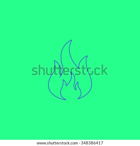 Fire Simple outline vector icon on green background  - stock vector