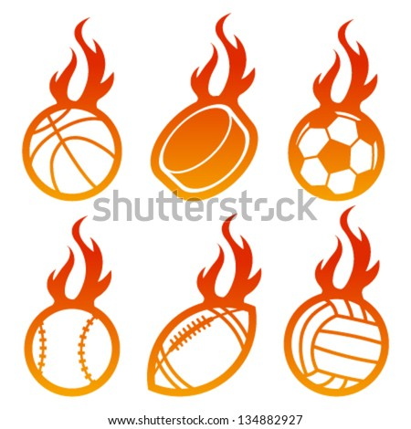 Fire Sport Balls Logo Icons - stock vector