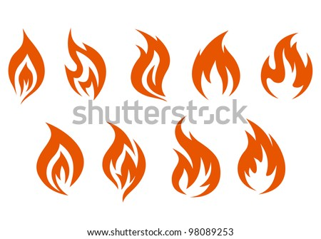 Fire symbols isolated on white background. Vector illustration - stock vector