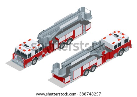 Fire truck isolated. Fire truck Flat, Fire truck 3d, Fire truck isometric, Fire truck city transport, Fire truck icon. Fire truck EPS. Fire truck icon. Fire truck illustration.  Fire truck isometric. - stock vector