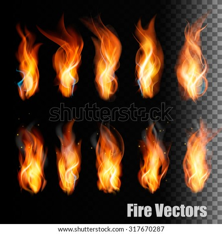 Fire vectors on transparent background. - stock vector
