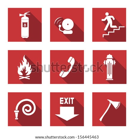 Fire Warning Signs - Flat Icons with Long Shadows - Vector Set  - stock vector