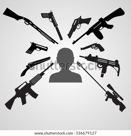 firearms weapons aim to the head of a man eps10 - stock vector