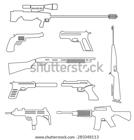 firearms weapons and guns outline icons eps10 - stock vector