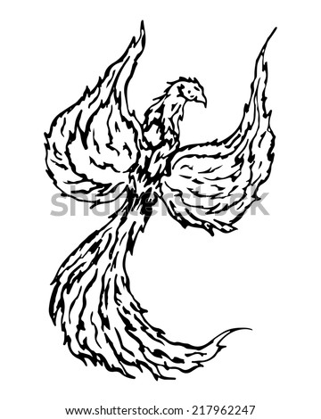 Firebird, mythical creature from russian tales, fantasy flowers, vector illustration - stock vector