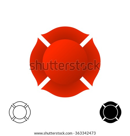 Firefighter emblem background silhouette. Red color and black monochrome versions of a badge. - stock vector