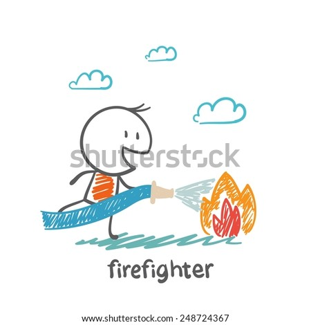 firefighter extinguishes fire illustration - stock vector