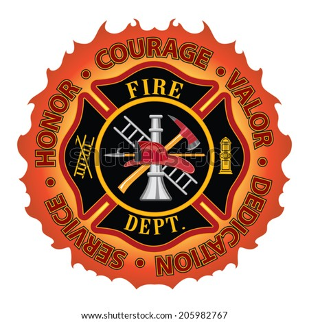 Firefighter Honor Courage Valor is a fire department or firefighter Maltese cross symbol design with flame border encircled by Honor, Courage, Valor, Dedication and Service. - stock vector