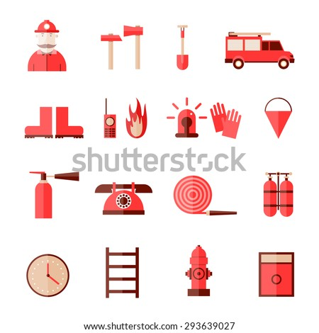 Firefighter icon set in a flat style. - stock vector