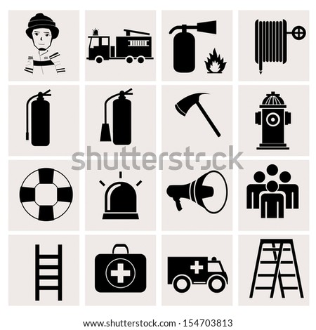 Firefighter icons on white background - stock vector