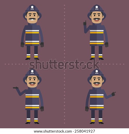 Firefighter in various poses - stock vector